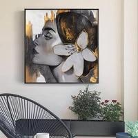 Affiche dart nordique mode femmes filles  peinture sur toile imprimee abstraite  decor de maison moderne  chambre de filles  images murales sans cadre