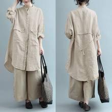 Camicia di lino moda abiti donna primavera prendisole ZANZEA Casual manica lunga Blusa tunica asimmetrica solida femminile