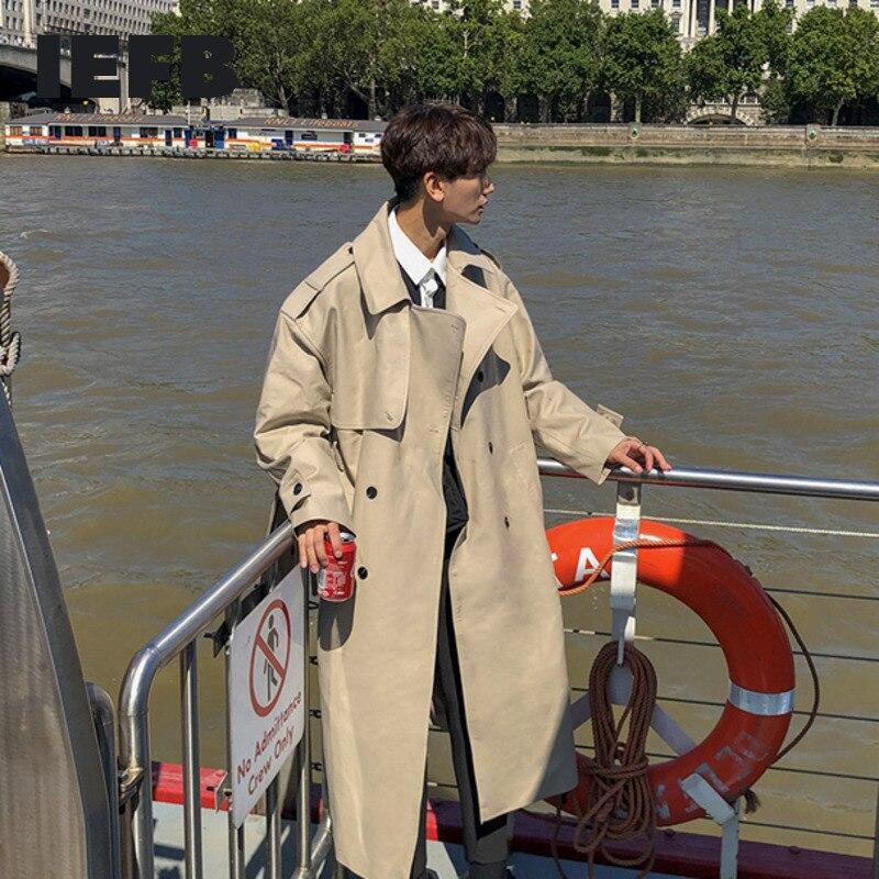IEFB /Men's Wear 2021 Spring Fashion New Handsome Windbreaker Trend Overcoat Loose Long Coat For Male Overknee Windbreaker 9Y880