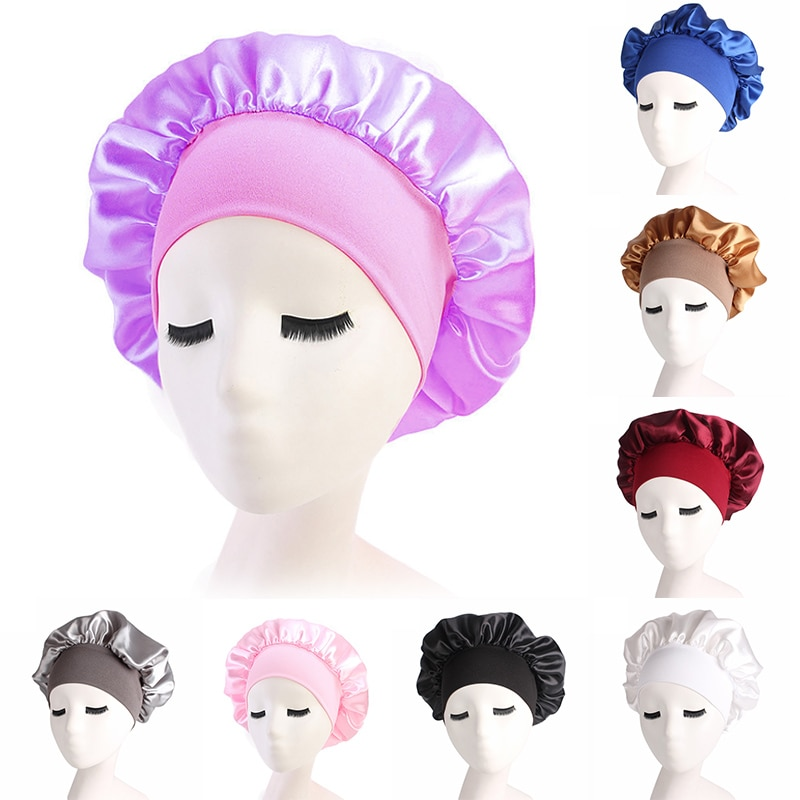 New Night Sleep Hair Protect Shower Hat Wide Band Adjust Hat Bathroom Products Wide-brimmed Sleeping Caps Women Satin Bonnet Cap