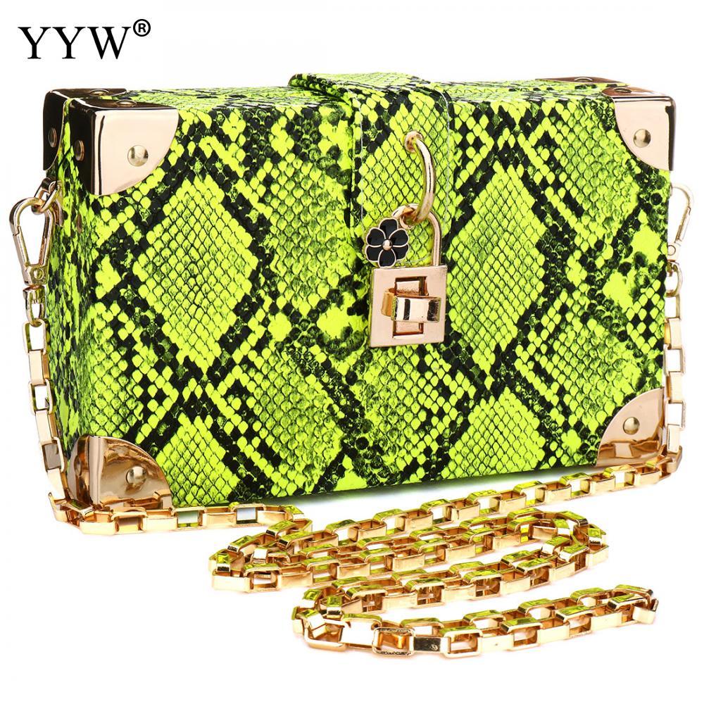 YYW-حقيبة كتف خضراء بنمط جلد الثعبان ، حقيبة يد نسائية عصرية ، حقيبة سهرة كلاسيكية ذات سطح صلب ، 2020