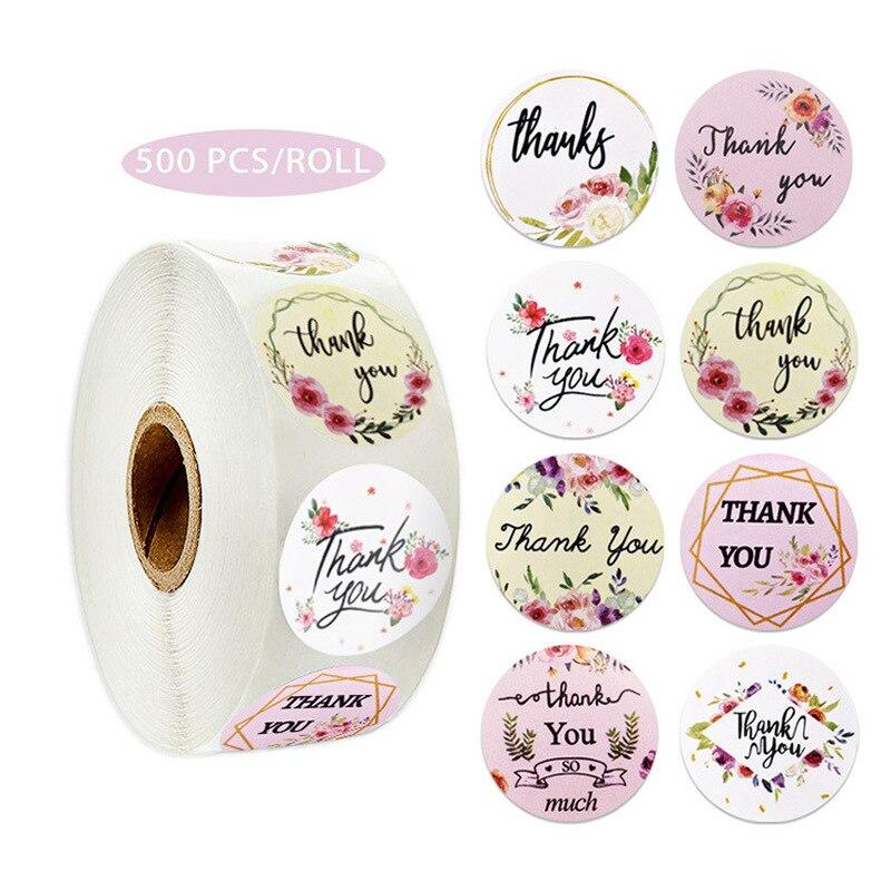 8 tipos de flores pegatinas de agradecimiento álbum de recortes regalo pegatinas de decoración de papelería sello etiquetas hechas a mano pegatinas personalizadas 500 Uds