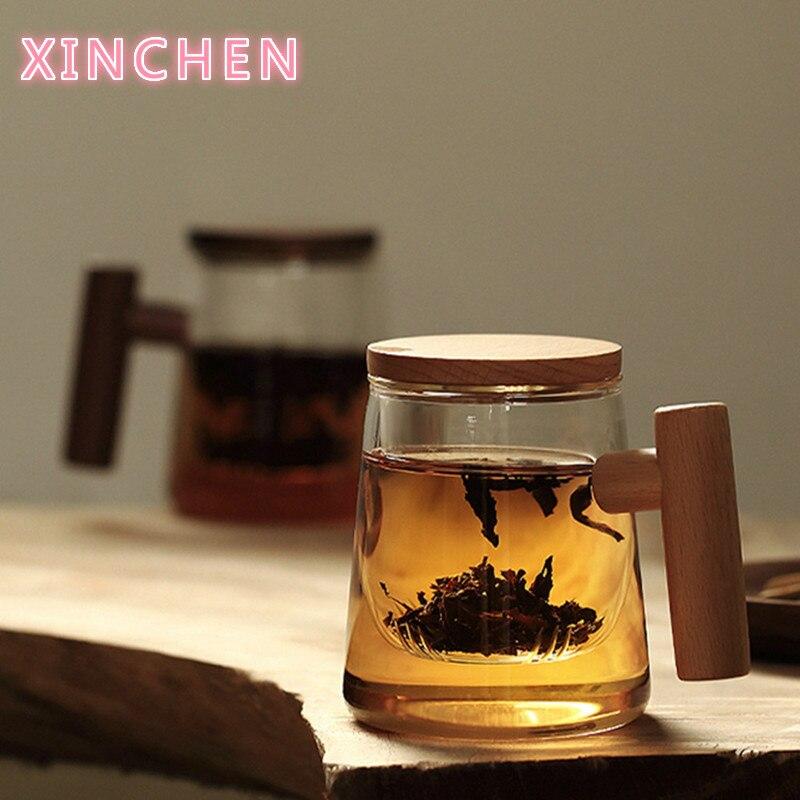 300 مللي الزجاج البورسليكات الإبداعية ضخ أكواب فنجان شاي شفاف مع فلتر غطاء خشبي غطاء مقبض الزان للحليب المياه