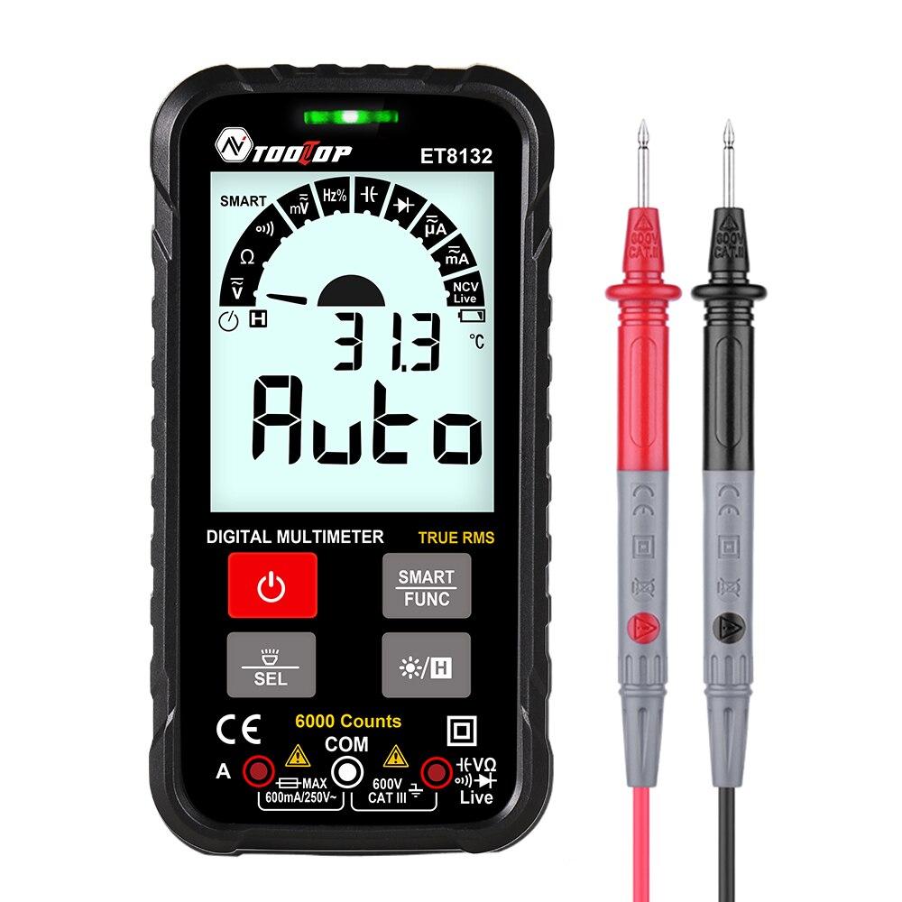 Tooltop et8132 600v inteligente multímetro digital tensão atual ohm capacitância hz ac dc ncv avançado multimetro tester