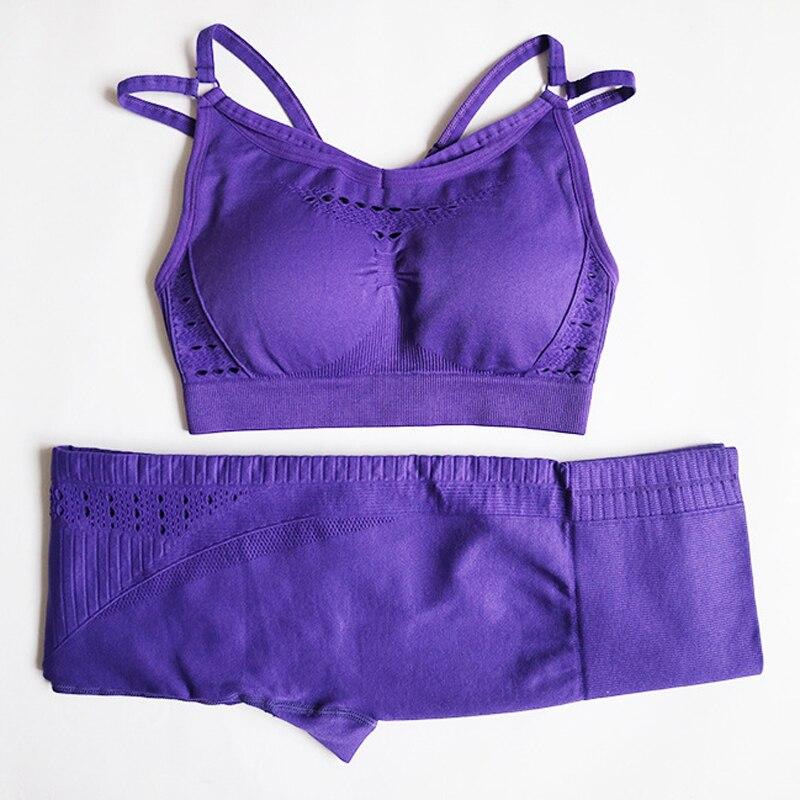 Conjunto de Yoga sin costuras para mujer ropa de Fitness conjunto de Leggings acolchados Push Up Sujetador deportivo 2 piezas ropa deportiva trajes deportivos atléticos ropa
