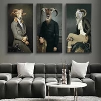 nordic poster print earl of the goat creative animal anime wall art canvas painting abstract retro picture for living room decor