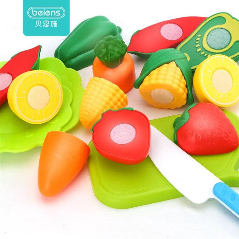 Juego de cocina para niños de 10 Uds. Beiens, juguete de plástico para cortar alimentos de frutas y verduras, juguetes educativos para niños, juguetes de simulación de juego de rol