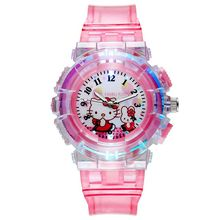 Colorful lights LED Children Watch Candy Color Cute Kitten Student Watch women Wrist Watches Kids Qu