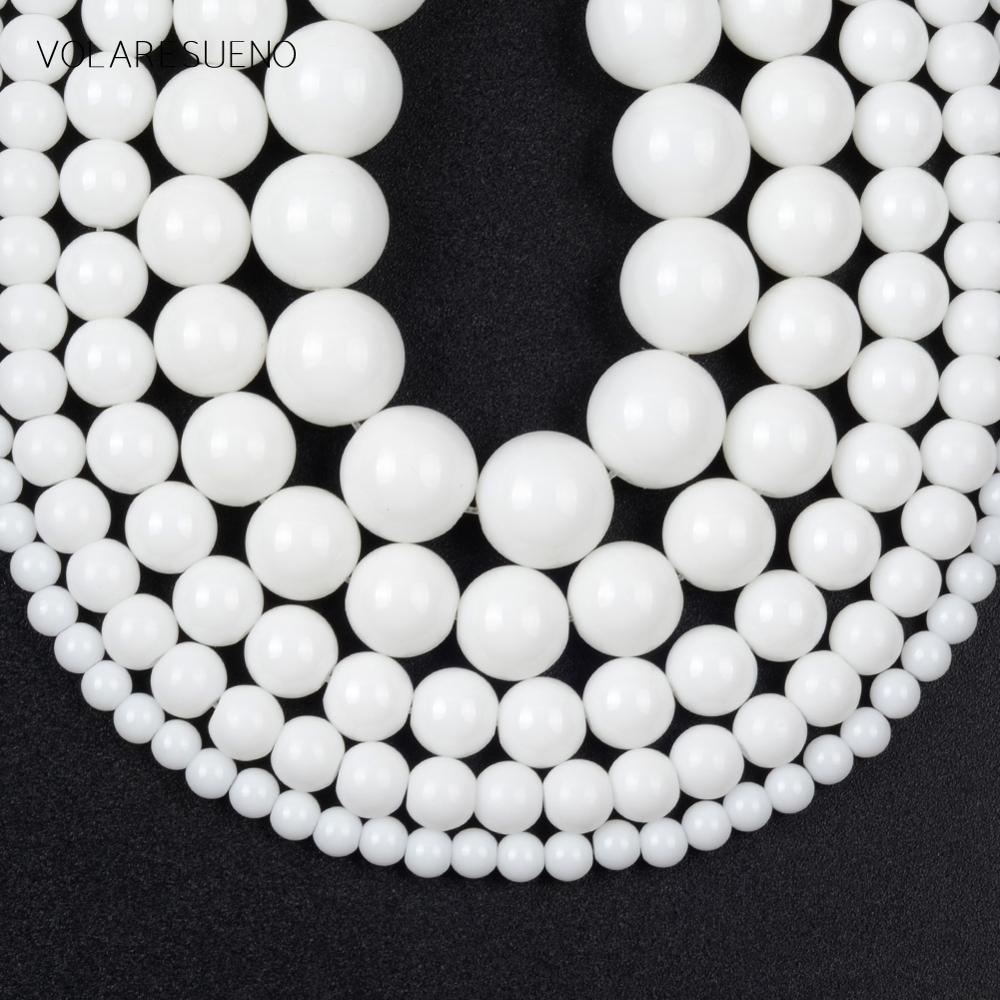 Natural White Agates Stone Smooth Round Beads For Jewelry Making 4/6/8/10/12mm Spacer Loose Beads Di
