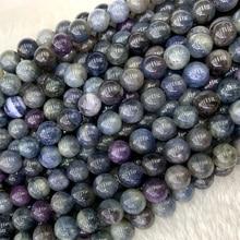 """Cuentas facetadas redondas, sueltas, de zafiro azul rubí púrpura, auténticas, naturales, 8mm, 15 """", 06325"""