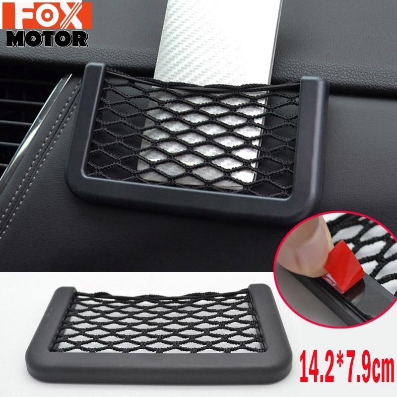 Car Phone Net Support pratique bâton gant réseau Mesh Bag chaîne auto voiture pochette de rangement pour téléphone portable Gadget cigarette