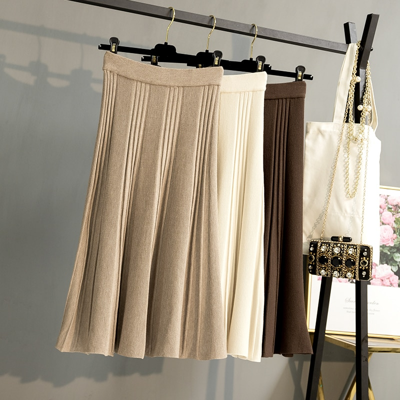 BYGOUBY, falda larga de punto para mujer, Falda de punto gruesa cálida para otoño e invierno, Falda plisada de cintura alta, faldas plisadas, suéter elegante