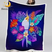 BlessLiving Parrot Bird Furry Blanket Tropical Jungle Plant Bed Blanket Leaf Floral Throw Blanket Purple Bedding couverture