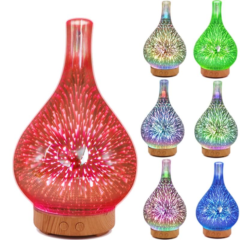 مرطب هواء زجاجي ، ناشر زيت عطري ، مبخر بالموجات فوق الصوتية ، 7 ألوان ، ألعاب نارية