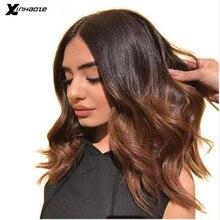 Perruques Lace Front Wig Bob naturelles Remy   Cheveux courts, Deep Part, ombré, à reflets de couleur 1b/bruns, 13x4/13x6