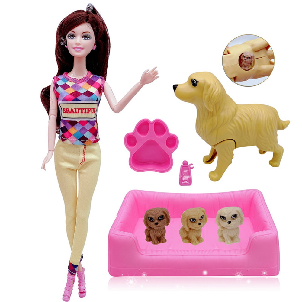 """AliExpress - 11.5 """"joint Barbies pet will give birth to puppy dog mother + 3 puppies + kennel doll accessories children's educational toy gif"""