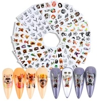 3d nail water sticker mix designs nail decal sticker animal butterfly dog bear nail paste smile face decoration nail stickers