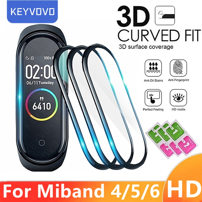 3D Protective Film Glass for Xiaomi Mi band 4 5 6 Full Cover for Mi band5 Smart Watchband Soft Scree
