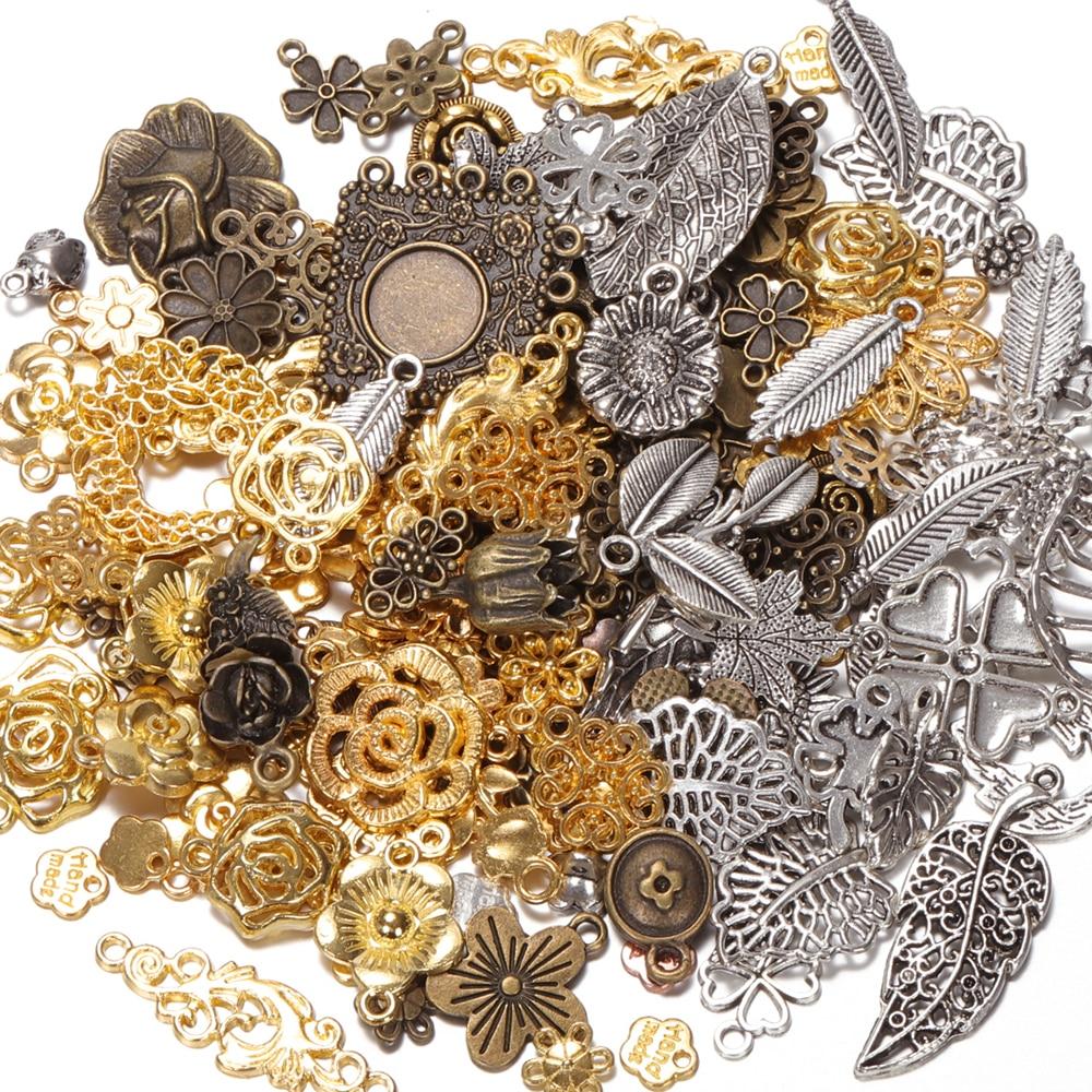 50g 100g Mixed Flower Petal Metal Charms Pendants Vintage Antique Bronze Silver Bracelets Necklace for DIY Jewelry Making Craft