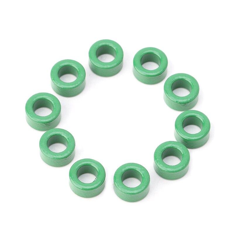 10 pces indutor bobinas verde toróide ferrite núcleos anti-interferência filtro anéis