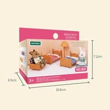 Mini Echte Slaapkamer Meubels Dubbele Stapelbed Kinderen Bed Deken Model Miniatuur Set Accessoire Speelgoed Voor Kid (Geen Pop)