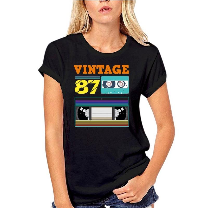 Funny Men T Shirt White t-shirt Tshirts Black Tee Vintage 1987 30th Birthday T-shirt недорого
