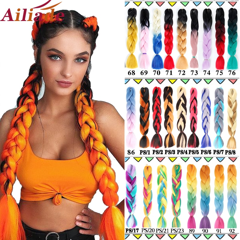 AILIADE Jumbo Braids Kanekalon Ombre Synthetic Pre Stretched Braiding Hair 24inches Long Pink Hair E