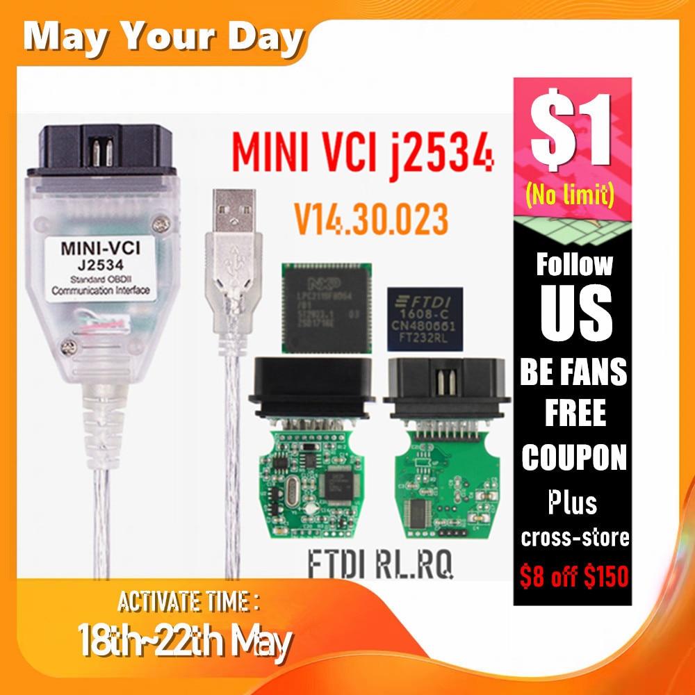 MINI VCI V14.30.023 FTDI FT232RL FT232RQ MINI-VCI J2534 For Toyota TIS Techstream OBD2 Interface Vehicle Diagnosis
