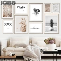 bunny tail grass reed roses lover quotes wall art canvas painting nordic posters and prints wall pictures for living room decor