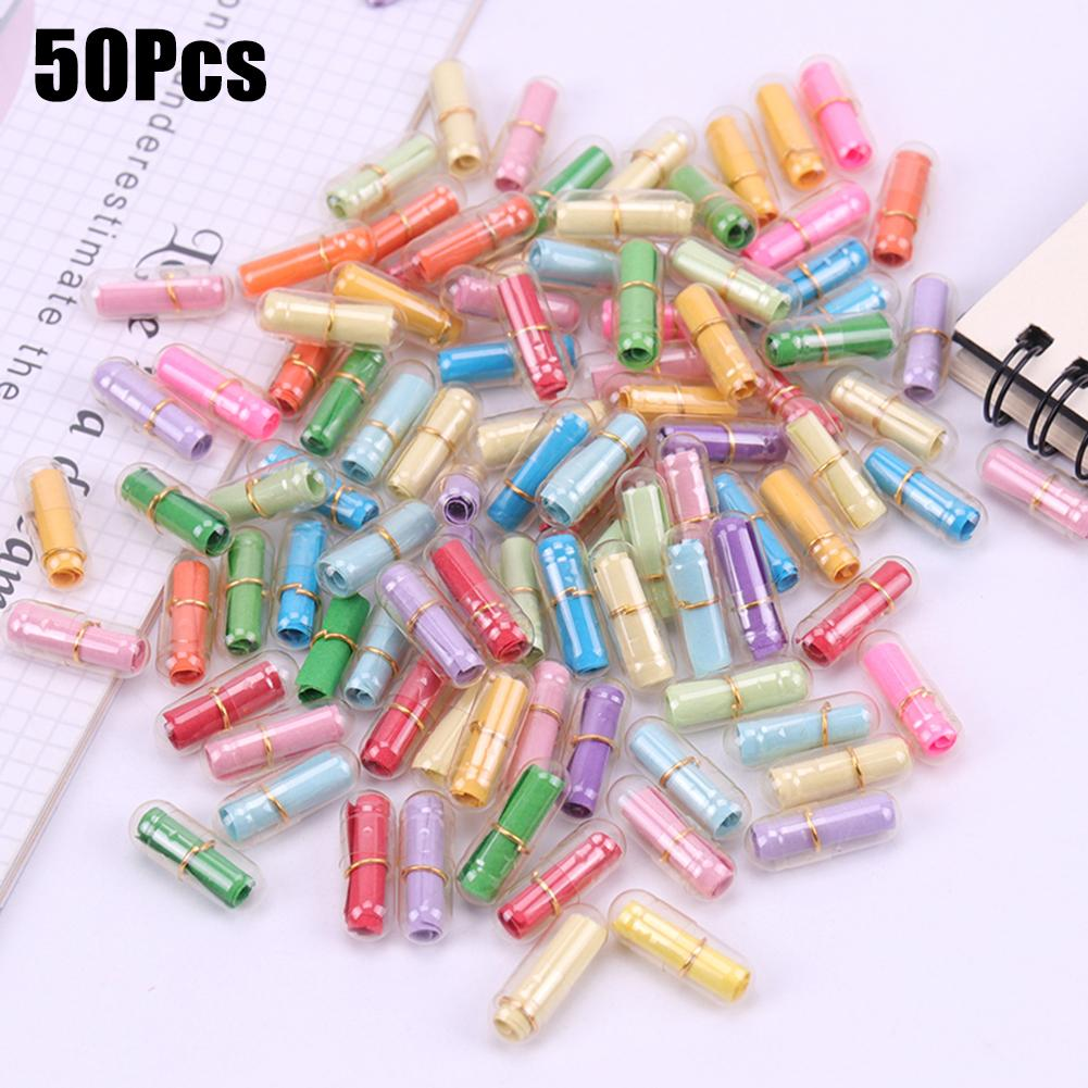 50Pcs Clear Wish Bottle Blank Letter Paper Message Envelope Capsule Love Pill Gift Paper Roll Mini Letter Pad