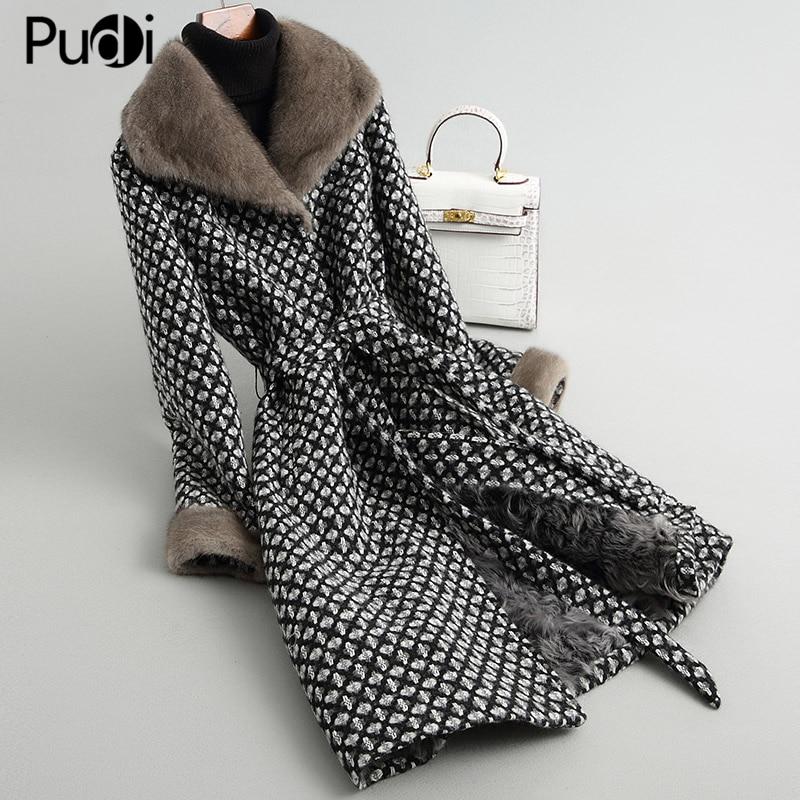 women real fur coat jacket winter warm wool blends with sheep fur lining mink fur collar female overcoats A38222