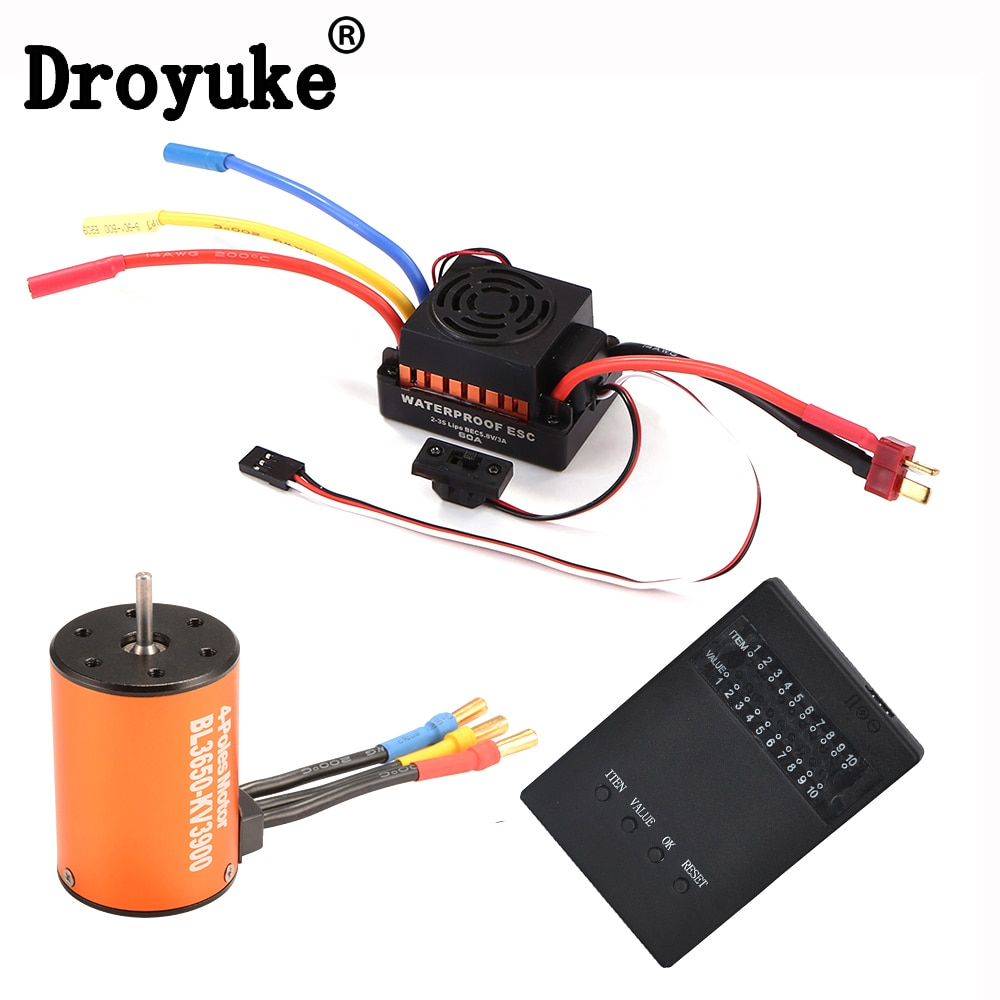 Hot impermeable 3650 3900KV 4 poles Sensorless Brushless Motor with 60A Electronic Speed Controller
