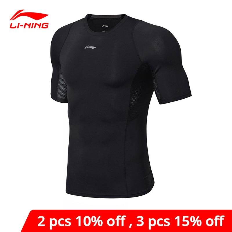 Li-ning men training collants manga curta malha respirável conforto o pescoço fino ajuste li ning forro esportes camiseta audn053 mts2772