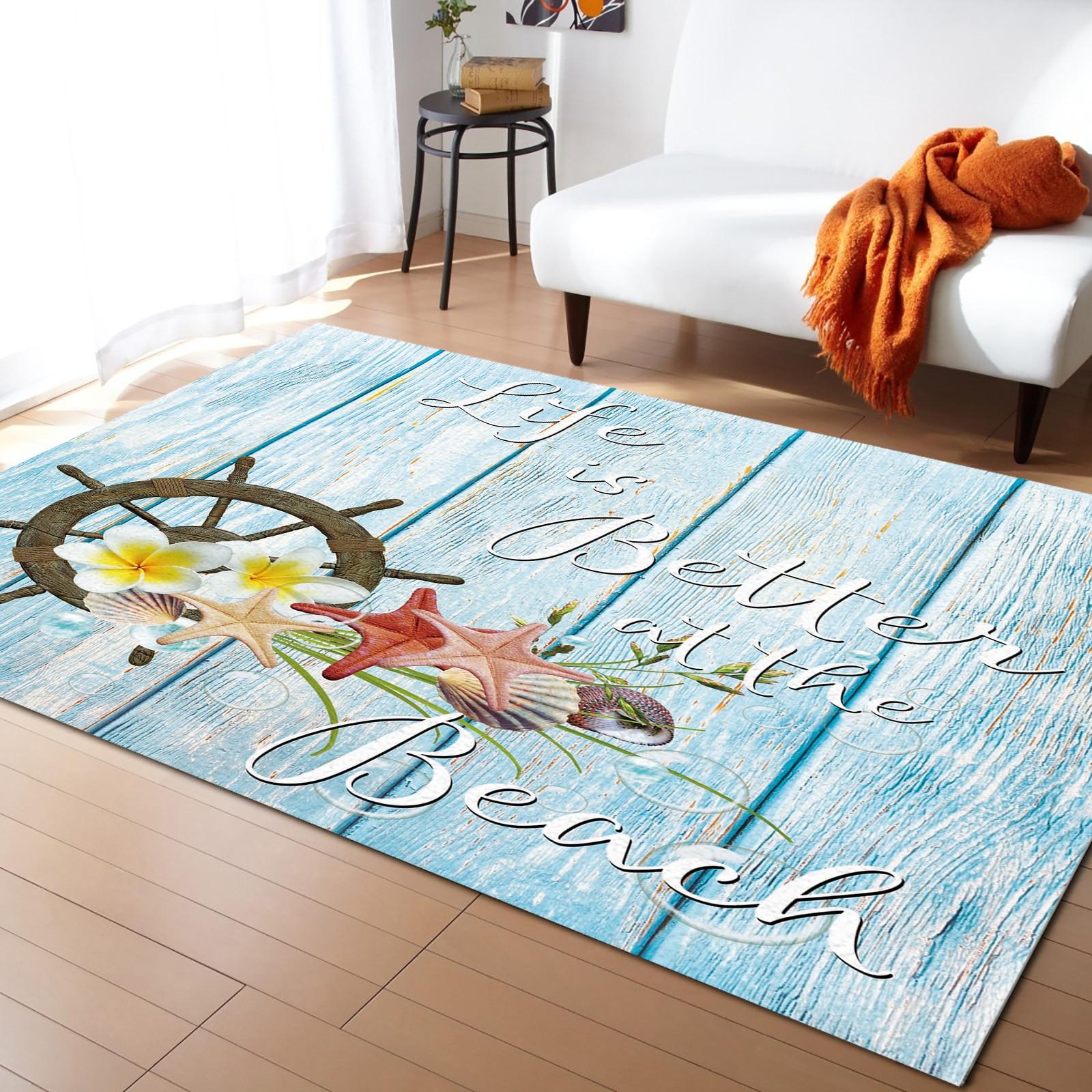 سجادة خشبية على شكل الدفة ، زهور ، نجم البحر ، نمط كاواي ، ديكور منزلي ، لغرفة النوم وغرفة المعيشة
