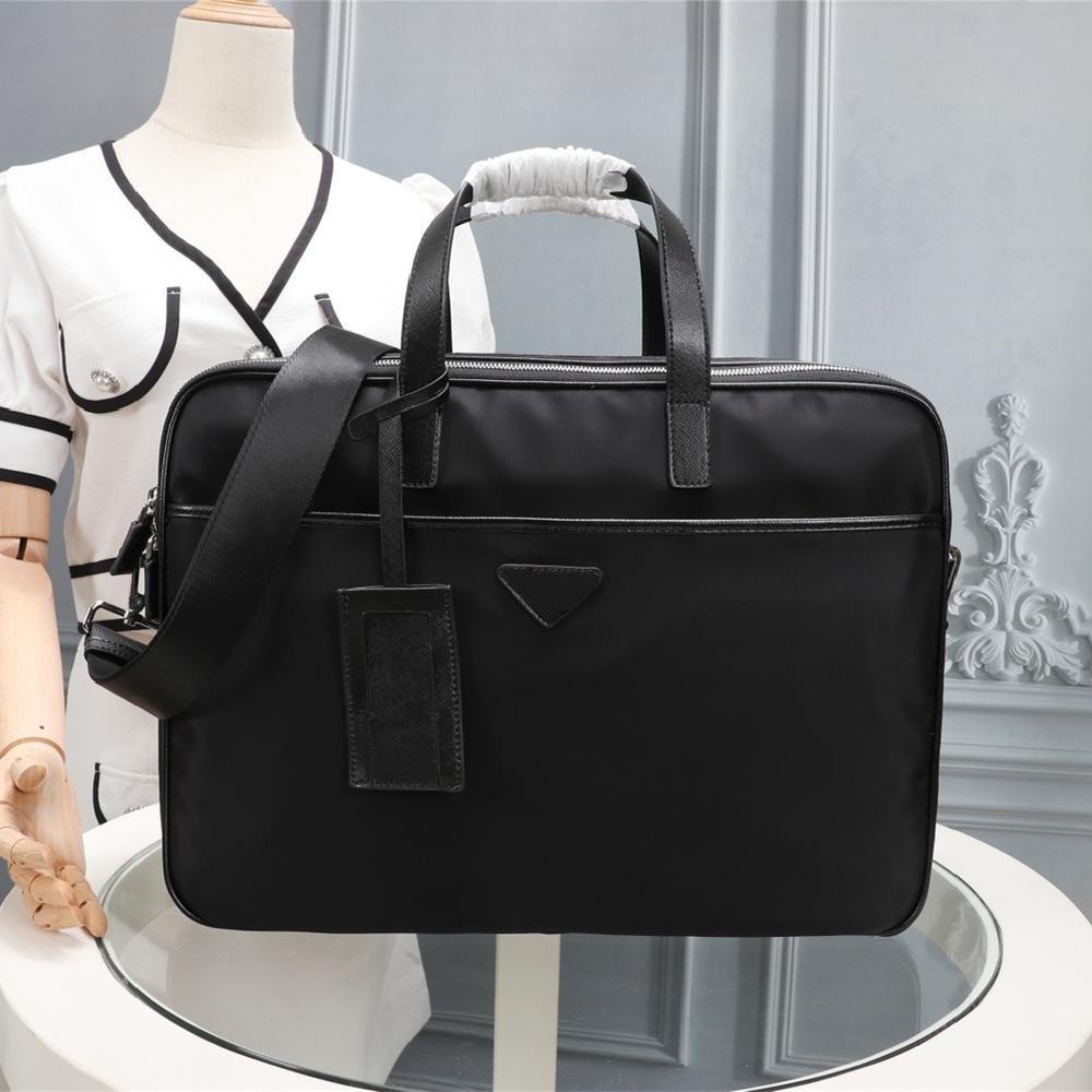 2021 Men's Black Nylon Designer Briefcase High Quality Laptop Bag Large Capacity Retro Fashion Office Handbag