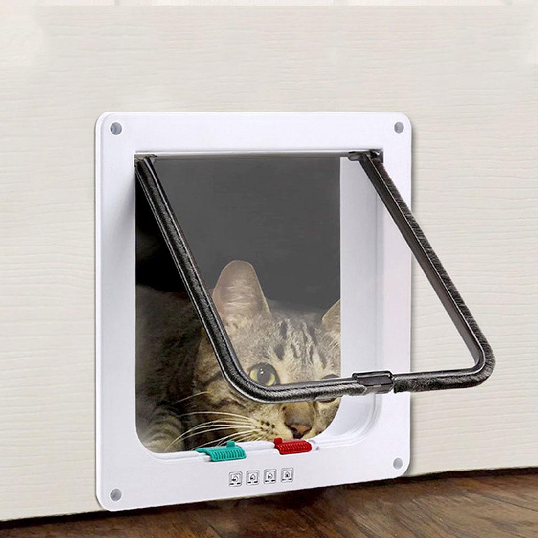 4 way lockable gato cão pet à prova dwaterproof água abs plástico exclusivo aleta porta porta gato porta aleta de alta qualidade