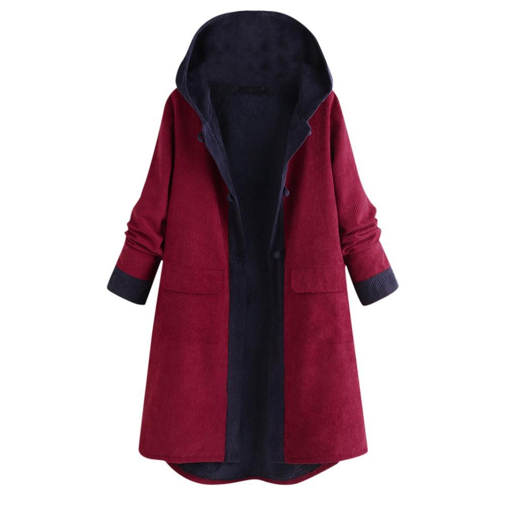 Chaqueta de Mujer de invierno de talla grande pana de abrigo largo...
