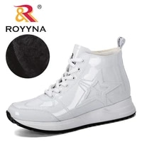 royyna 2020 new style fashion patent leathert snow boots winter shoes women casual ankle botas ladies mujer warm plush boots