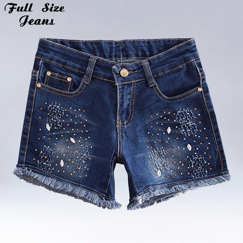 Plus Size Rhinestones Beading Tassels Denim Shorts 4XL 5XL Sexy Women Summer Oversized Casual Jeans Short Feminino