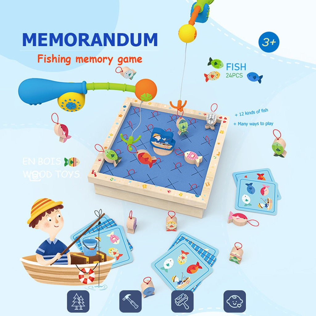 Wooden Fishing Game Fishing Toys for Toddlers Counting Learning Education Math Preschool Board Game Educational Development