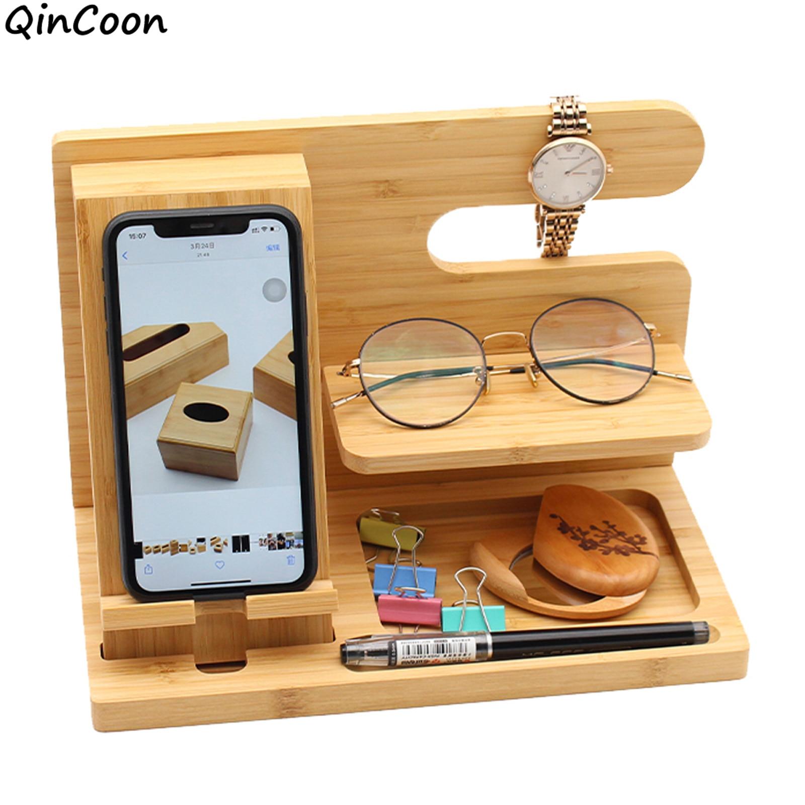 Многофункциональная деревянная подставка для телефона, Стыковочная станция из натурального бамбука/сосны для смартфона, крючки, держатель для ключей и часов, органайзер для хранения