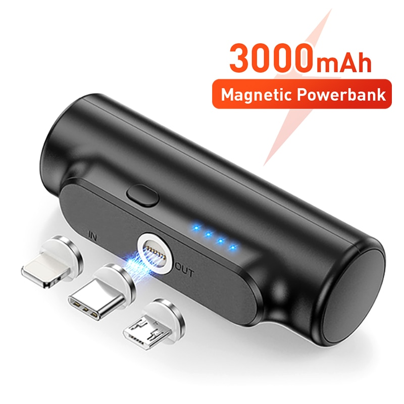 Mini Magnetic Power Bank For iPhone 12 3000mAh Magnet Charger Power Bank For Xiaomi Emergency Portab