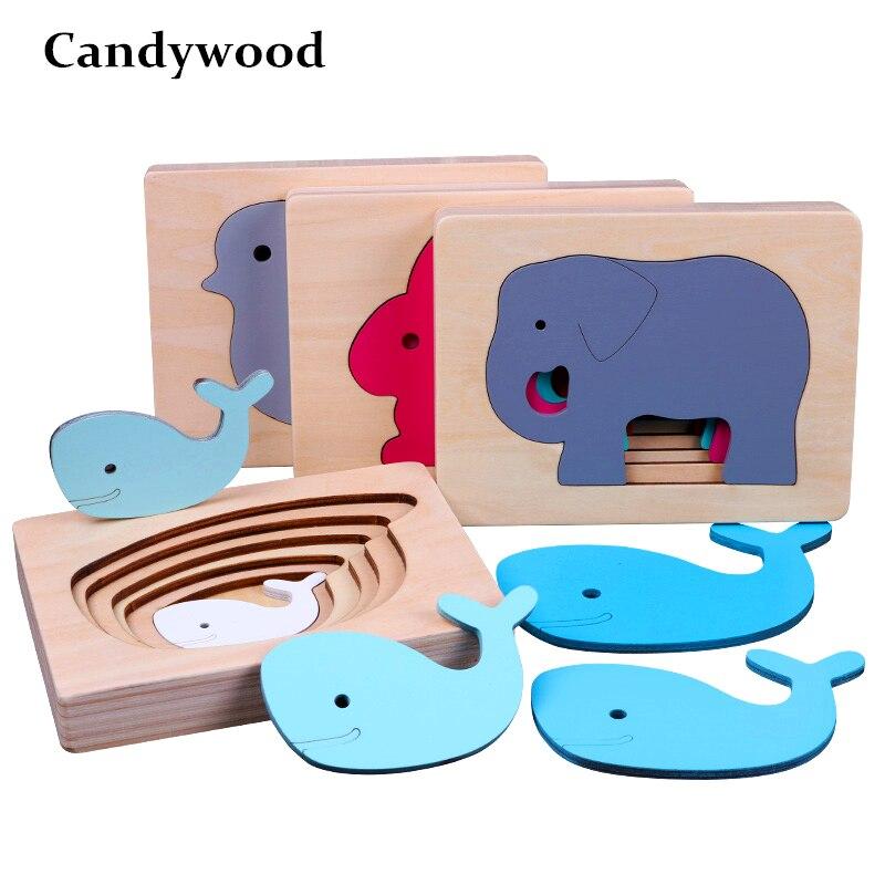 Candywood детские животные 3D деревянные игрушки-паззлы Размер градиент цвета Многослойные головоломки детские развивающие игрушки