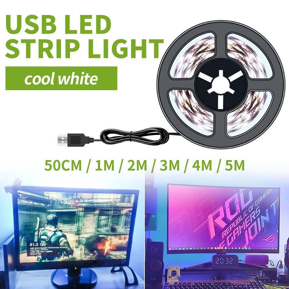 Tira de luces LED USB para Gamer, cinta de luz LED Flexible...