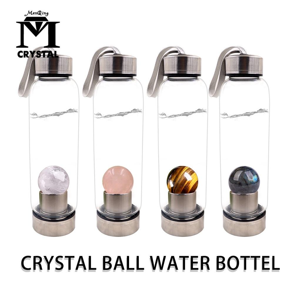 ¡Envío directo! Botella de agua de cristal Natural, Bola de piedra, bola de cristal curativa Elixir, vaso de energía de cristal de cuarzo para regalo
