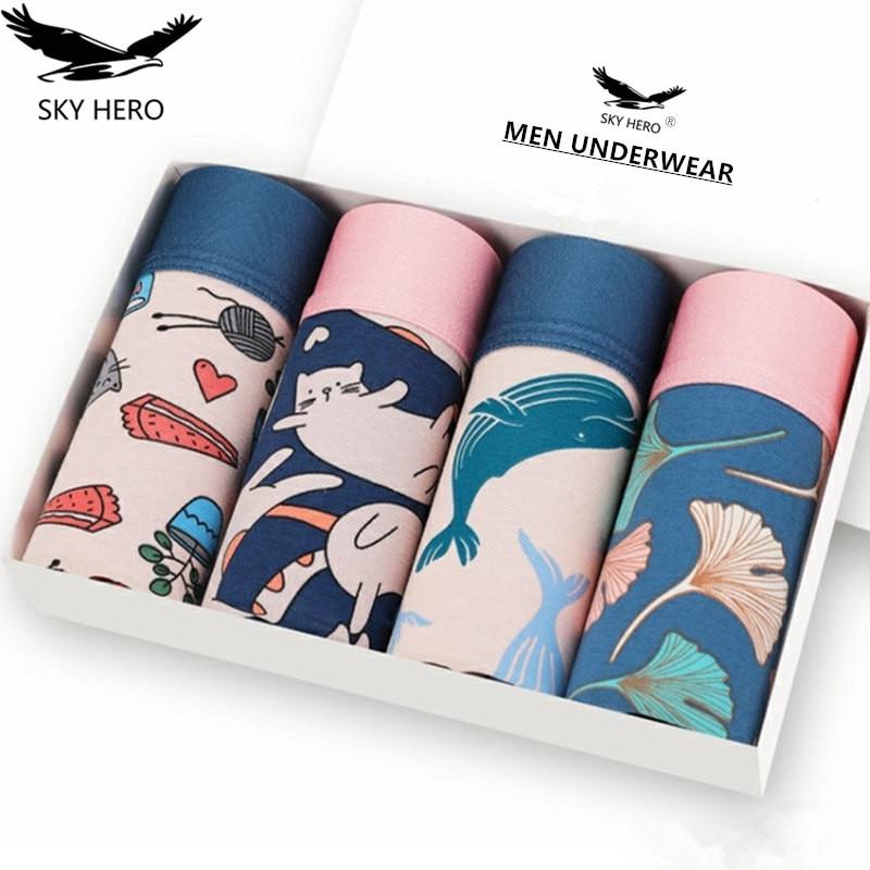4pcs/lot Mens Underwear Boxers Cotton Fashion Printed Men Underpants Boxer Shorts Male Panties Pouch Vetement Homme