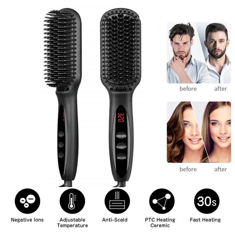 NEW Style Men Beard Combs Multifunctional Hair Straightener Curling Iron Fast Hot Comb Quick Hair Styler US EU Plug LCD Display