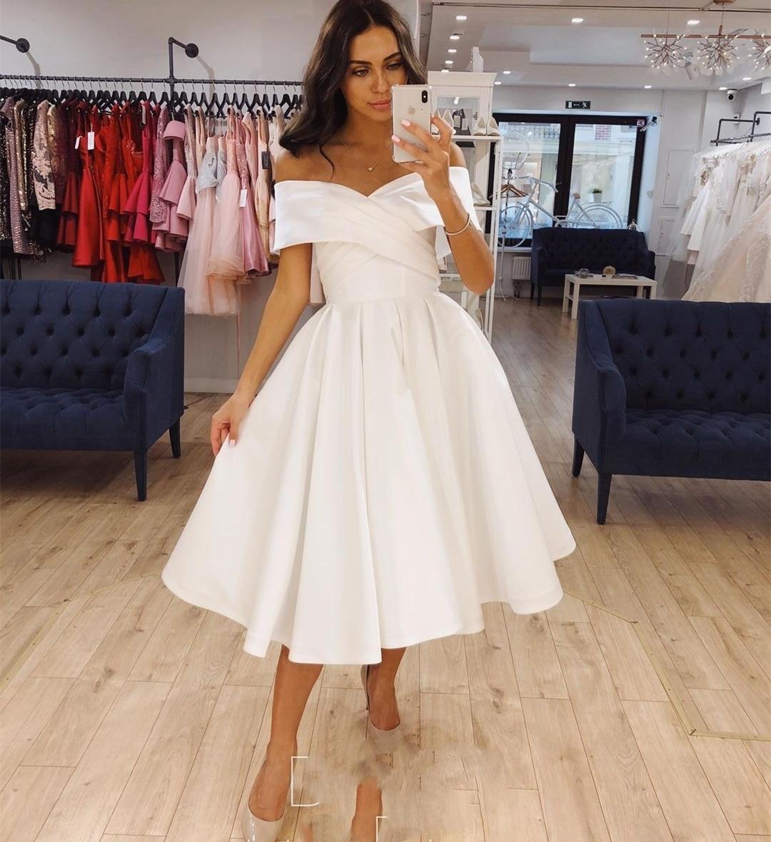 فستان زفاف قصير من الساتان بطول الركبة ، 2021 مطوي ، بسيط ، أكتاف عارية ، عرائس ، أنيق ، رخيص