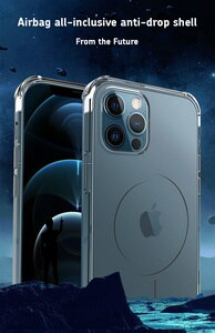 Luxury Transparent Clear Magnetic Case for Apple iPhone 12 Mini Pro Max TPU Rotating Sound Phone Cover Support Wireless Charging