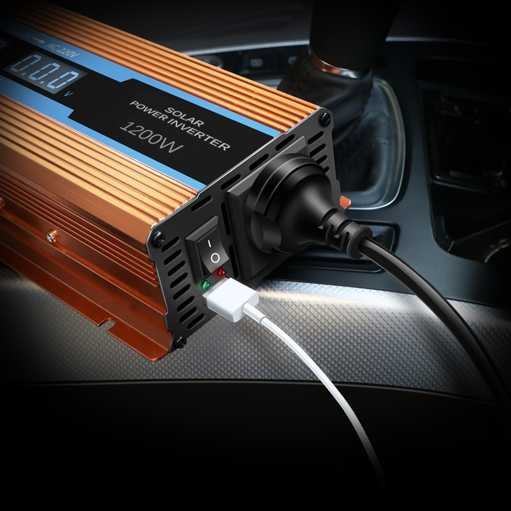 Pantalla LCD inversor de corriente del coche 1200W cargador USB vatios cc 12V convertidor de voltaje del inversor de potencia pico transformador